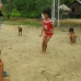 Local Dayak children skipping and playing.